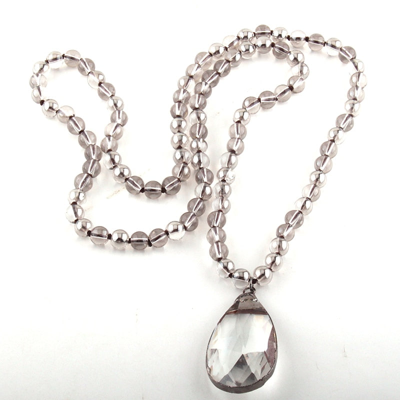 Beaded Glass Drop Knotted Pendant Necklaces