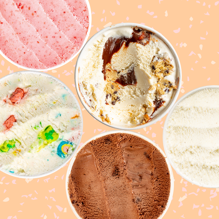 Fun flavors of ice cream packed in pints by Salt & Straw.
