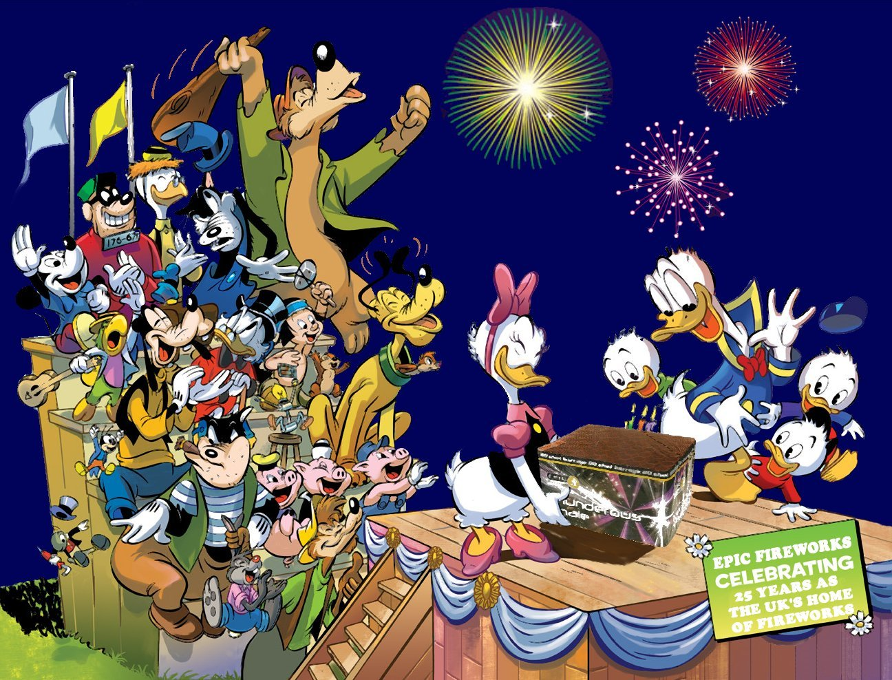 Disney Characters Advertising Fireworks