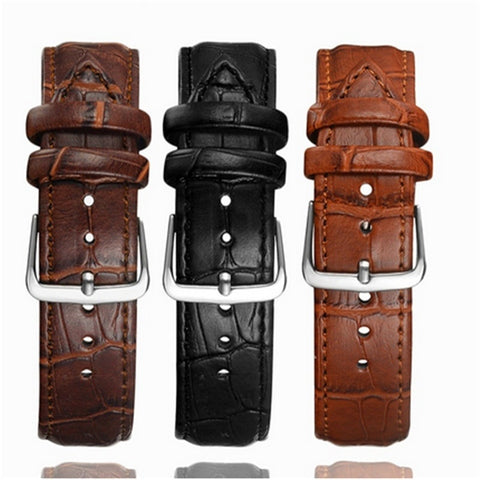 Simple and Generous and Durable Men's Ladies Leather Watch Strap Men and Women 16 20 22mm Leather Watch Strap