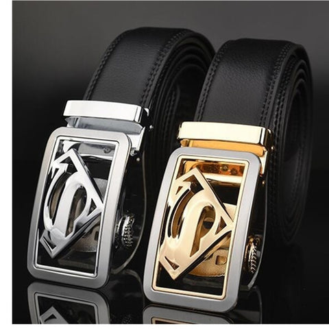 Fashion Men'S Genuine Leather Belts Cuasual  Business Belts Black Luxury Superman Automatic Buckle Belt
