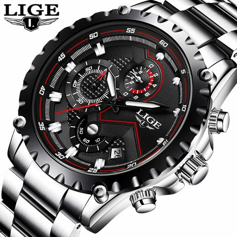 Fashion Mens Accessories Watches Male Military Buisness Watch Men Full Steel Quartz-watch+Box