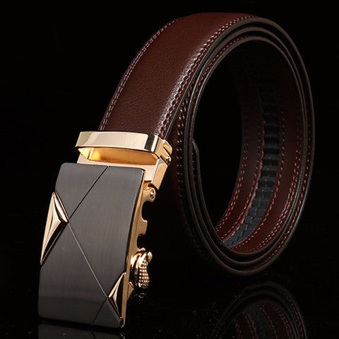 2017 NEW Luxury Leather Men's Automatic Buckle Fashion Black Belt Waistband