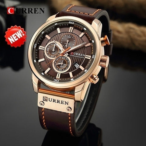 CURREN Mens Watches Top Brand Luxury Quartz Gold Watch Men Casual Leather Military Waterproof Sport Wrist Watch Male Fashion Clo