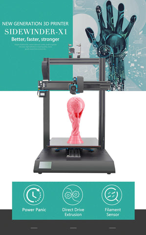 Newest Artillery 3d printer Sidewinder X1 Ultra-quiet Driver TFT Touch Screen Dual Z axis Resume Printing 3d printer kit