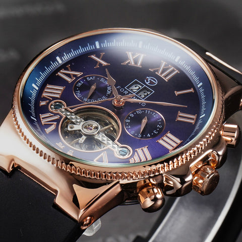 FORSINING Rubber Band Sport Watches Rose Gold Case Tourbillion Designer Watch Male Automatic Mechanical Mens Watch Top Brand