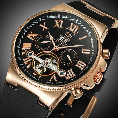 FORSINING Rubber Band Sport Watches Rose Gold Case Tourbillion Designer Watch Male Automatic Mechanical Mens Watch