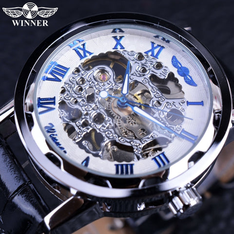Winner Blue Hands Black Leather Strap Retro Classic Design Clock Mens Watches Top Brand Luxury Fashion Casual Designer Watch