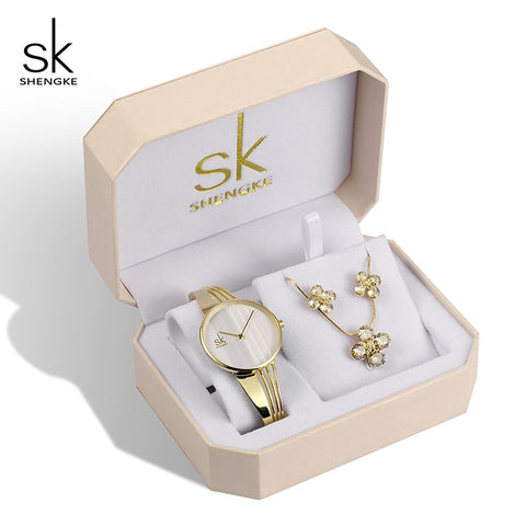 Shengke Creative Women Gold Set Crystal Earrings Necklce With Ladies Quartz Watch 2019 New SK Women Bracelet Watches Set Gifts