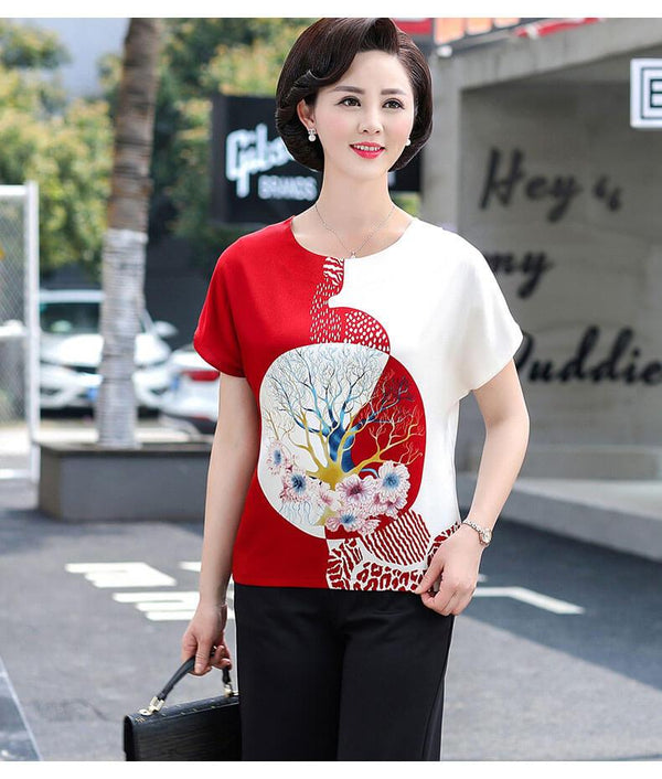 Japan Middle-Aged And elderly Chiffon Short Sleeve Suit【Moms wear super fits】