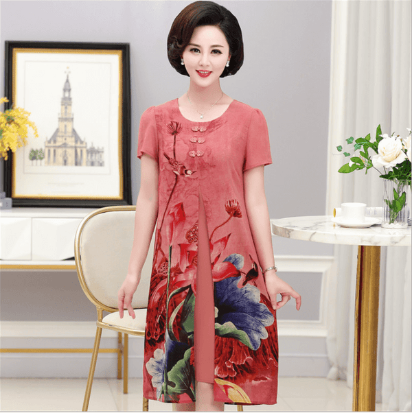 Elegant short sleeve middle-long style dress