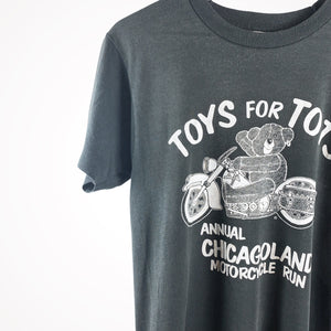1980s Chicago Teddy Bear Biker Toys For Tots Charity Vintage Motorcycle T-Shirt
