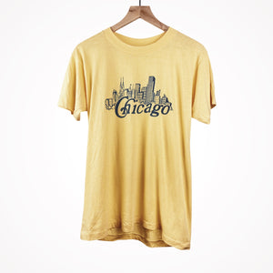 1980s Chicago Skyline Minimalistic Yellow Classic Vintage T-Shirt