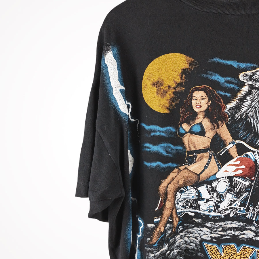 80s / 90s American Thunder Wild Breed Lightning Pinup American All Over Print Spirit T-Shirt