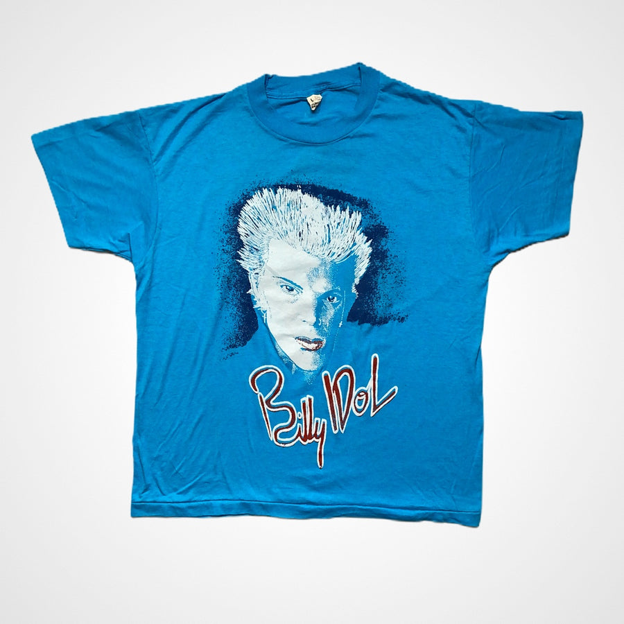 Vintage 1980s Billy Idol Portrait and Script T-Shirt