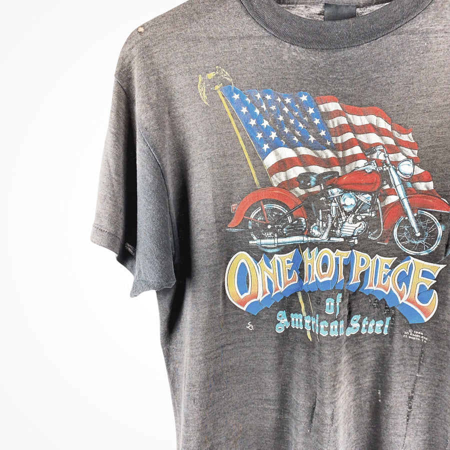 1986 Thrashed Harley 3D Emblem One Hot Piece of American Steel T-Shirt