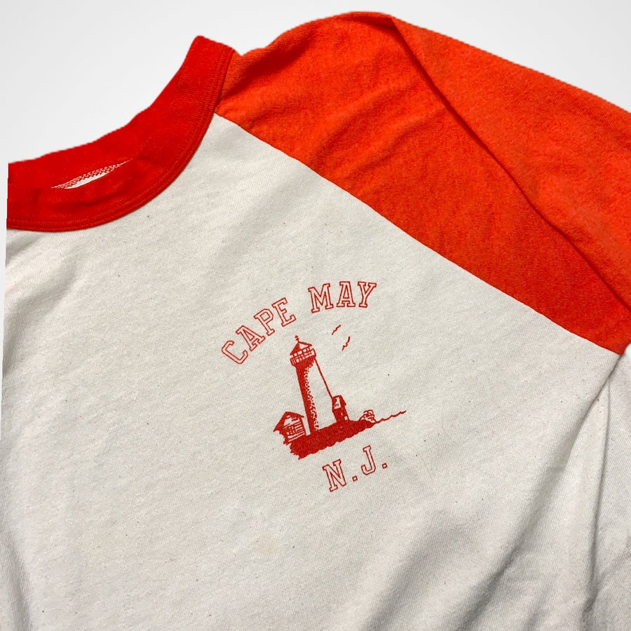 Vintage 70s / 80s Tourism Cape May New Jersey Baseball Raglan T-Shirt