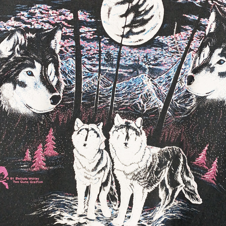 Vintage 90s Nature Wolves Bike Dealership T-Shirt