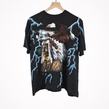 1994 American Thunder Chief with Lightning Eagle All Over Print T-Shirt