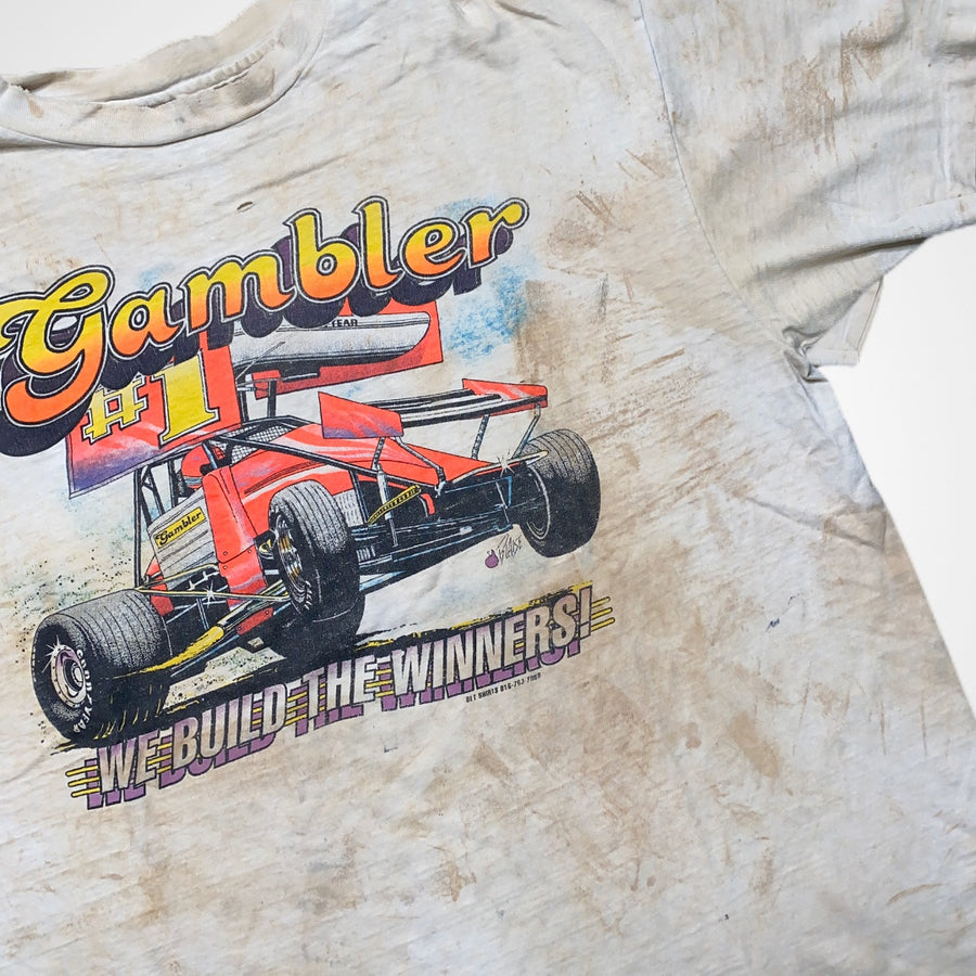 Vintage 80s / 90s Rally Gambler Thrashed and Stained Racing T-Shirt