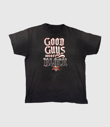 1986 3D Emblem Harley Davidson Good Guys Wear Black Thrashed T-Shirt - DRAFT