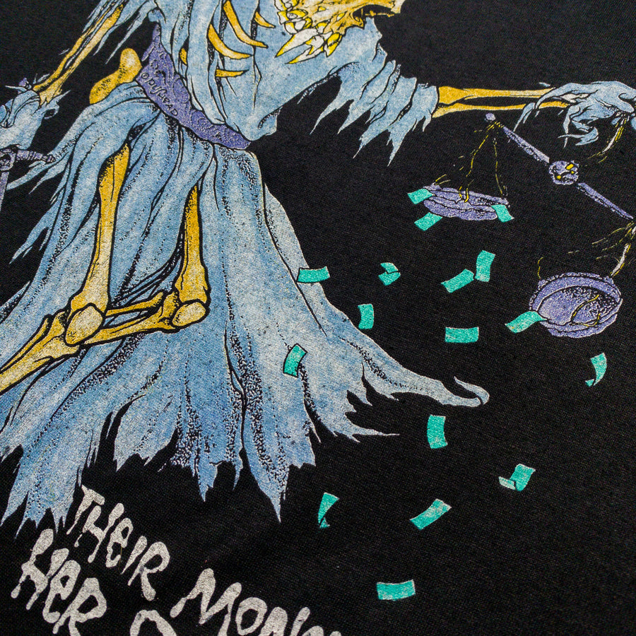 1989 Metallica Their Money Tips Her Scales Again Pushead DORIS Vintage T-Shirt