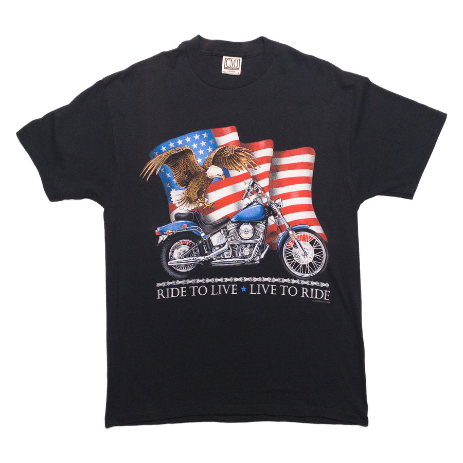 1990s Harley CMJ Live To Ride American Flag Eagle Vintage T-Shirt