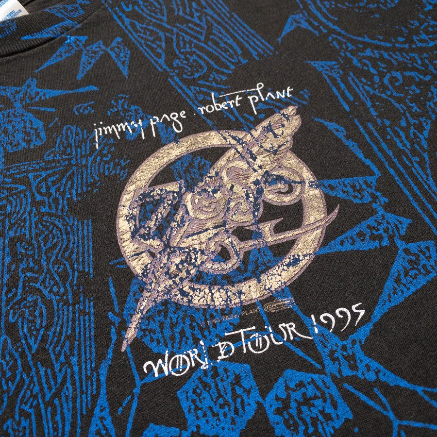 1995 Jimmy Page & Robert Plant Tour All Over Print Vintage T-Shirt