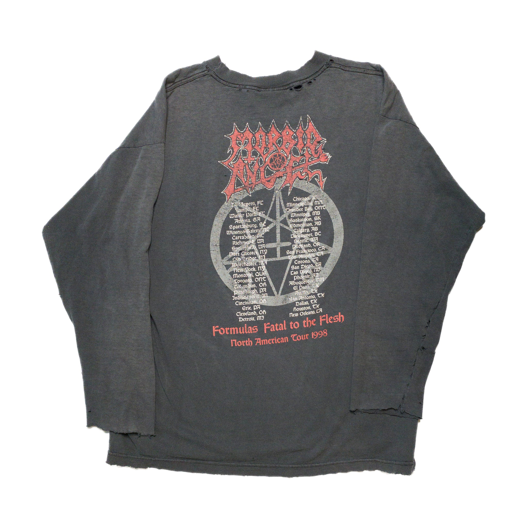 1998 Morbid Angel Come Dance With Me Tour THRASHED Long Sleeve Vintage T-Shirt