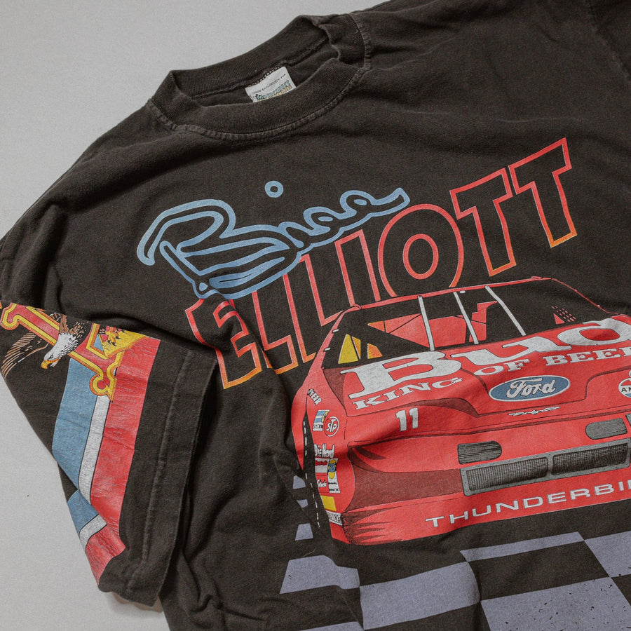 Vintage NASCAR Racing 1992 - 93 Bill Elliot All Over Print Budweiser T-Shirt