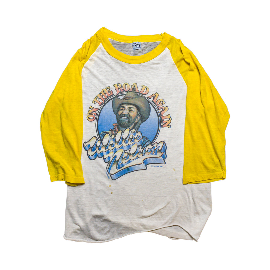 1980 Willie Nelson On The Road Vintage Baseball T-Shirt