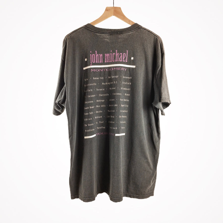 Vintage 1995 John Michael Montgomery Motorcycle Tour Country T-Shirt