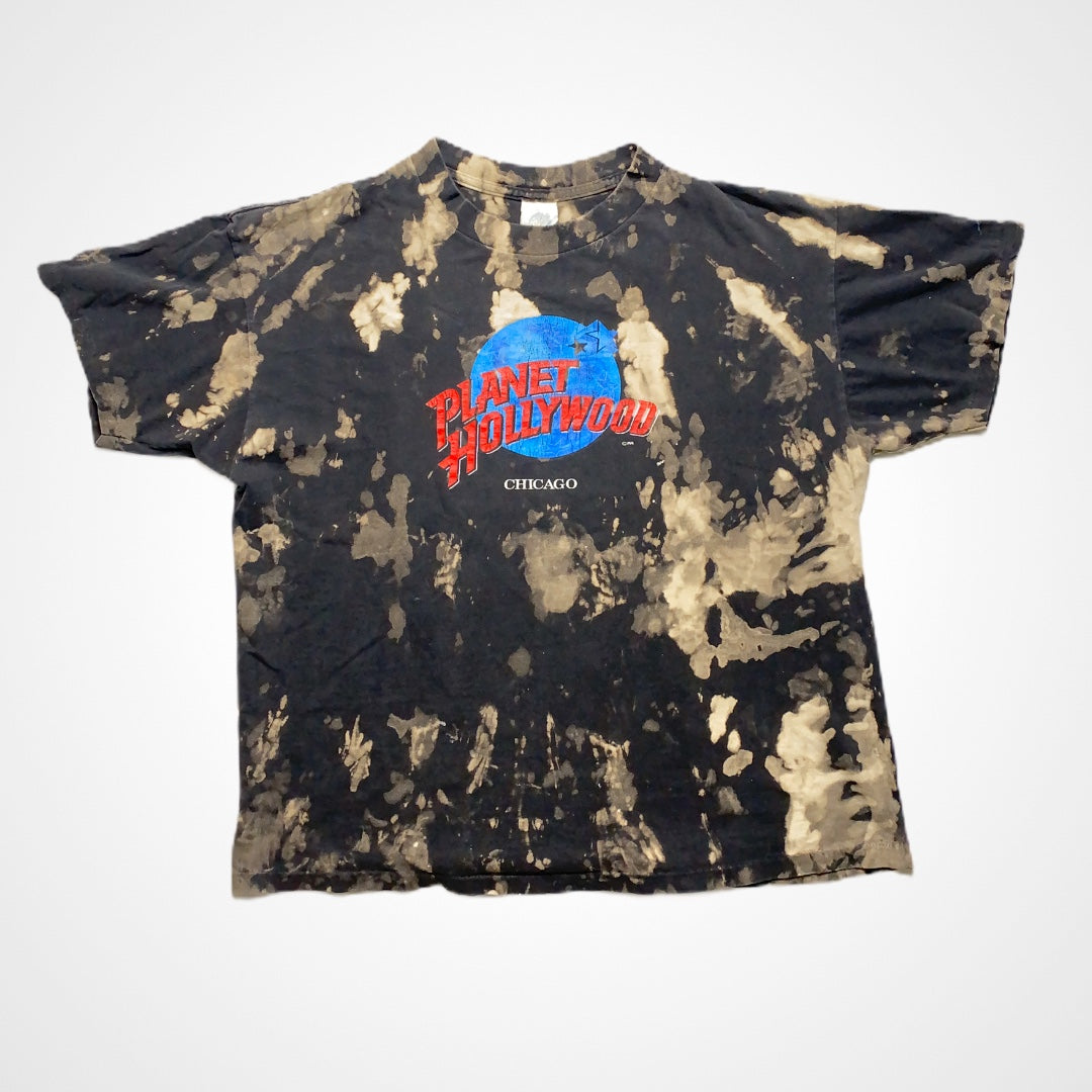 Vintage 90s Planet Hollywood Chicago Custom Reverse Dye T-Shirt