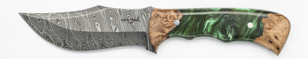 Carved Damascus Hunting Knife #10225