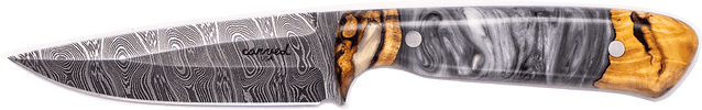 Carved Damascus Field Knife #20302