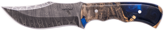 Carved Damascus Hunting Knife #10272
