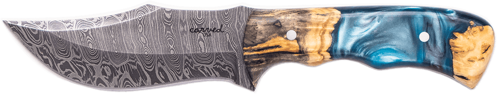 Carved Damascus Hunting Knife #10242