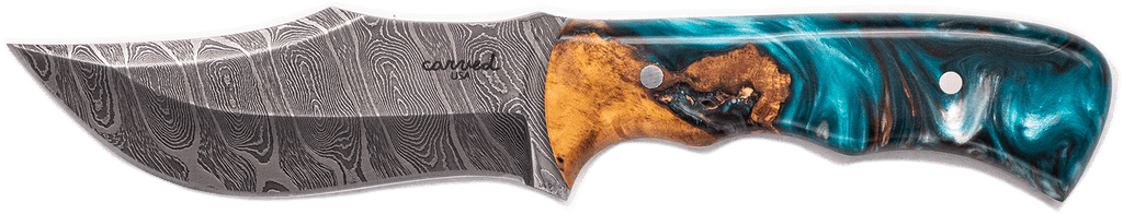 Carved Damascus Hunting Knife #10267