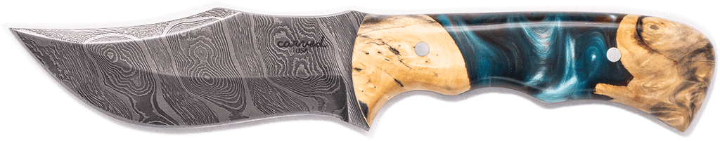Carved Damascus Hunting Knife #10276
