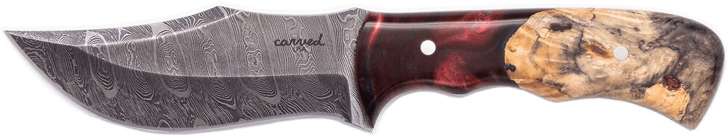 Carved Damascus Hunting Knife #10270