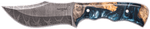 Carved Damascus Hunting Knife #10254