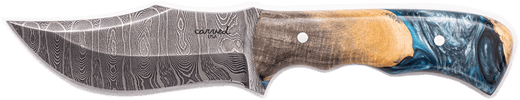 Carved Damascus Hunting Knife #10252