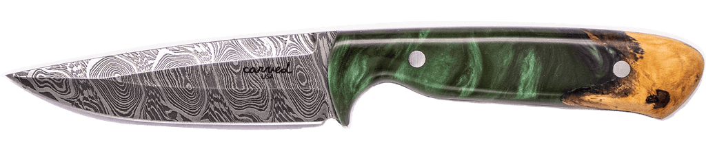 Carved Damascus Field Knife #20219