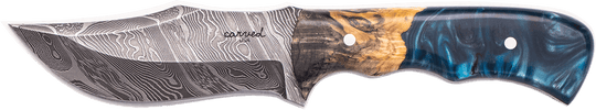 Carved Damascus Hunting Knife #10236