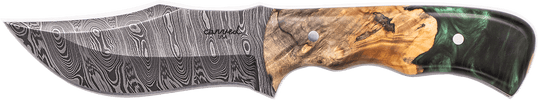 Carved Damascus Hunting Knife #10230