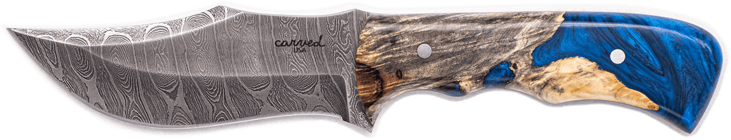Carved Damascus Hunting Knife #10273