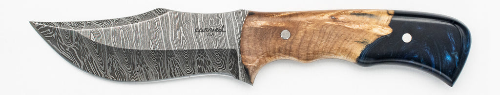 Carved Damascus Hunting Knife #10209