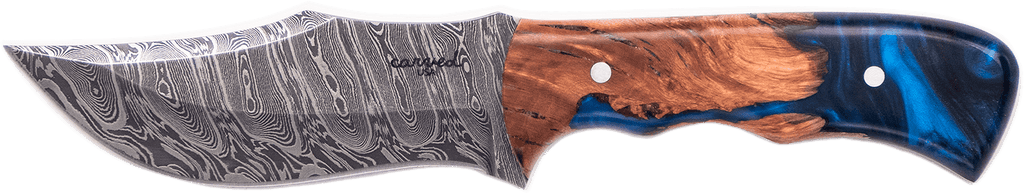 Carved Damascus Hunting Knife #10245