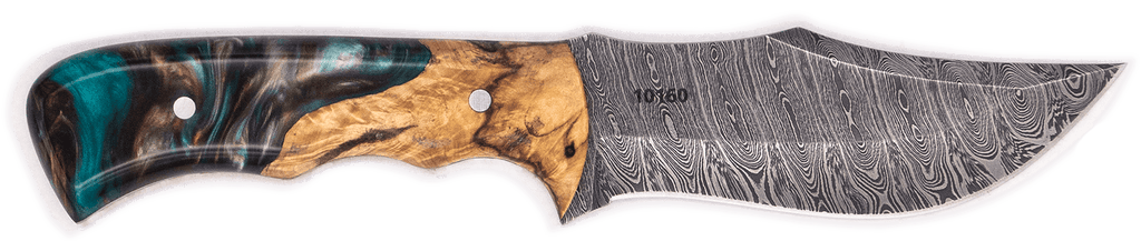 Carved Damascus Hunting Knife #10160