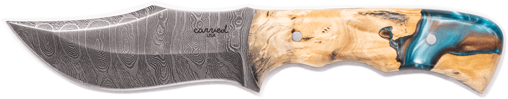 Carved Damascus Hunting Knife #10264
